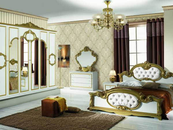 Spavaca soba BAROCCO BIANCO GOLD&NERO GOLD
