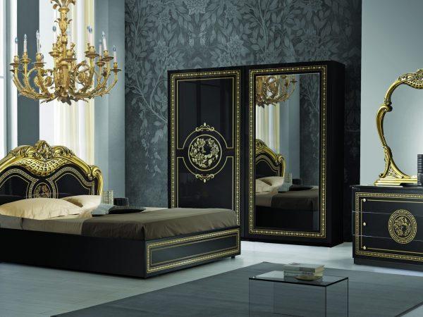 Spavaca soba DOLORES BIANCO GOLD+NERO GOLD