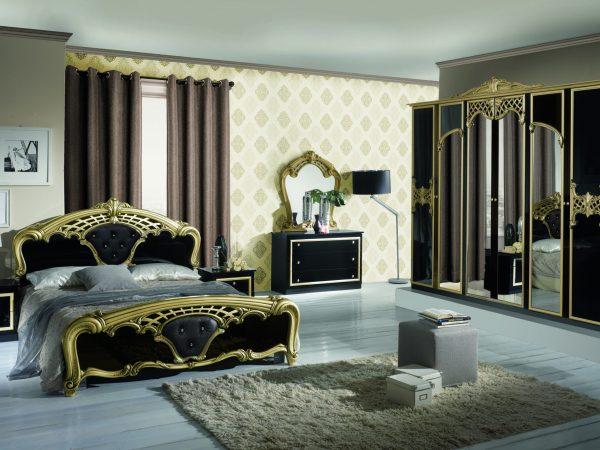 Spavaca soba EVA BIANCO GOLD& NERO GOLD